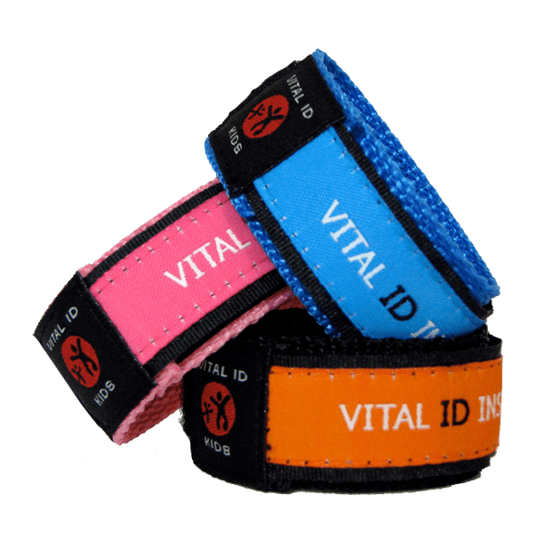 Child / Kids Vital ID Wristband - Medical Emergency & Identity Purple Flowers ADSD49Q